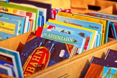 Auswahl an Bilderbüchern in einer Bücherkiste
