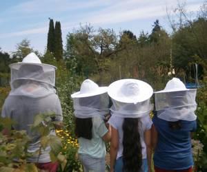 Kinder gehen durch den Imkergarten und tragen dabei Kleidung zum Schutz vor Bienenstichen